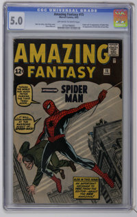 Amazing Fantasy #15 (Marvel, 1962) CGC VG/FN 5.0 Off-white to white pages. Even at mid-grade, the milestone comic book t...