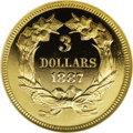Proof Three Dollar Gold Pieces: , 1887 $3 PR67 ★ Cameo NGC. This Superb Gem Cameo Proof is aconditionally rare item indeed. Wh...