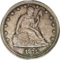 Patterns: , 1875 20C Seated Liberty Twenty Cents, Judd-1407, Pollock-1550, LowR.6, PR66 PCGS. The obverse is virtually identical to th...