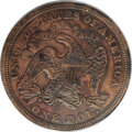 1870 $1 Seated Liberty Dollar, Judd-1020, Pollock-1155, Low R.7, PR50 PCGS. The regular dies for the 1870 Seated Liberty...