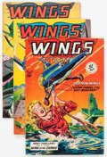 Golden Age (1938-1955):War, Wings Comics #100, 102, and 104 Group (Fiction House, 1948-49)Condition: Average FN+.... (Total: 3 Comic Books)
