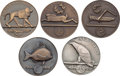 Miscellaneous Collectibles:General, 1924 Paris Summer Olympics Art Competition Third-Place WinningMedals Lot of 5....