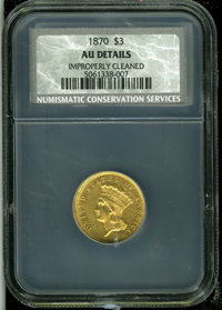 1870 $3 AU Details, Improperly Cleaned, NCS. The surfaces are yellow-gold in appearance with suitable remaining definiti...