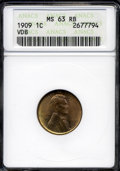"Lincoln Cents: , 1909 VDB 1C MS63 Red and Brown ANACS. The current Coin Dealer Newsletter (Greysheet) wholesale ""bid"" price is $8.00...."
