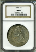 Seated Dollars: , 1853 S$1 MS64 NGC....