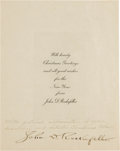 Baseball Collectibles:Bats, 1920's John D. Rockefeller Signed Christmas Card. ...