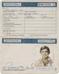 Hockey Collectibles:Others, 1981 Bobby Hull Canadian Passport....