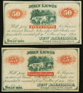 Obsoletes By State:Ohio, New Baltimore, OH- John Lewis 25¢; 50¢ Dec. 1, 1862 Remainders. ...(Total: 2 notes)
