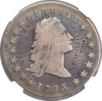 1795 $1 Flowing Hair, Two Leaves, B-1, BB-21, R.2 -- Engraved -- NGC Details. Fine