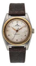 Timepieces:Wristwatch, Rolex Ref. 3372 Steel & Gold Bubble Back, circa 1948. ...