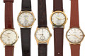 Timepieces:Wristwatch, Five 14k Gold Gent's Vintage Watches. ... (Total: 5 Items)