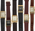 Timepieces:Wristwatch, Six Vintage Gold Rectangular Watches Runners. ... (Total: 6 Items)