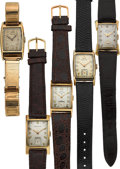 Timepieces:Wristwatch, Five 14k Gold Vintage Watches. ... (Total: 5 Items)