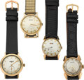 Timepieces:Wristwatch, Four Vintage 14k Gold Gent's Watches. ... (Total: 4 Items)