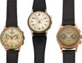 Timepieces:Wristwatch, Two Swiss 18k Gold Chronographs, One Timer. ... (Total: 3 Items)