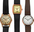 Timepieces:Wristwatch, Three Rolex 9k Gold Vintage Watches. ... (Total: 3 Items)