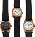 Timepieces:Pocket (post 1900), Three Rolex Early Gold Wristwatches. ... (Total: 3 Items)