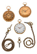 Timepieces:Pocket (pre 1900) , Two English 18k Gold Fusee Watches & A Swiss 18k Gold Key Wind.... (Total: 6 Items)