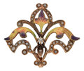 Timepieces:Watch Chains & Fobs, Art Nouveau Gold, Enamel, Pearl & Diamond Watch Pin. ...