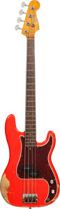 Musical Instruments:Bass Guitars, 1965 Fender Precision Bass Fiesta Red Electric Bass Guitar, Serial # L66013, Weight: 8.6 lbs....