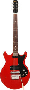 Musical Instruments:Electric Guitars, 1964 Gibson Melody Maker Cardinal Red Solid Body Electric Guitar,Serial # 314409, Weight: 6 lbs....