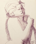 Fine Art - Work on Paper:Drawing, Emilio Greco (Italian, 1913-1995). Female in Purple, 1964.Ink on paperboard. 17-1/4 x 14-1/4 inches (43.8 x 36.2 cm) (s...