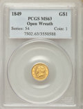 Gold Dollars, 1849 G$1 Open Wreath MS63 PCGS. PCGS Population: (250/250). NGC Census: (263/302). CDN: $1,000 Whsle. Bid for problem-free ...