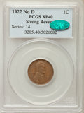 1922 1C No D, Strong Reverse, FS-401, XF40 PCGS. CAC....(PCGS# 37676)