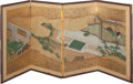 Asian:Japanese, Tosa School (Japanese, 1603-1868). Four-Panel Court Scene,Edo Period. Watercolor, gold leafing, ink. 21-1/8 x 43-1/2 in...