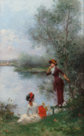 Mainstream Illustration, Jules Frederic Ballavoine (French, 1850-1931). By the Lake.Oil on panel. 10.5 x 6.75 in.. Signed lower right: J....