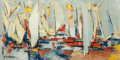Other:Contemporary, W. Chatelot (French, 20th Century). Sailboars in Harbor.Acrylic on canvas. 15-3/4 x 31 inches (40.0 x 78.7 cm). Signed ...