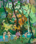 Fine Art - Painting, European:Contemporary   (1950 to present)  , Pierre Grisot (French, 1911-1995). The Bathers, 1987. Oil oncanvas. 21-3/4 x 18-1/4 inches (55.2 x 46.4 cm). Signed low...