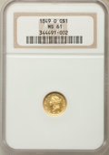 Gold Dollars, 1849-O G$1 Open Wreath MS61 NGC. Variety 1....