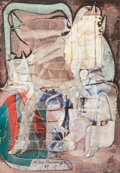 Fine Art - Painting, European:Contemporary   (1950 to present)  , Milan Hendrych (20th Century). Untitled, 1987. Mixed mediawith collage on paper. 11 x 7-3/4 inches (27.9 x 19.7 cm) (im...