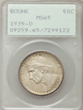 Commemorative Silver, 1935-D 50C Boone MS65 PCGS. PCGS Population: (339/115). NGC Census:(260/97). CDN: $170 Whsle. Bid for problem-free NGC/PCG...