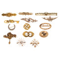 Estate Jewelry:Brooches - Pins, Victorian Diamond, Freshwater Pearl, Seed Pearl, Glass, GoldBrooches. . ... (Total: 14 Items)