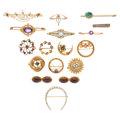 Estate Jewelry:Brooches - Pins, Multi-Stone, Seed Pearl, Enamel, Gold, Gold-Plated Brooches. . ... (Total: 17 Items)