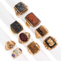 Estate Jewelry:Rings, Gentleman's Art Deco Diamond, Multi-Stone, Gold Rings. . ... (Total: 9 Items)