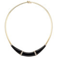 Estate Jewelry:Necklaces, Diamond, Black Onyx, Gold Necklace. ...