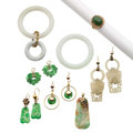 Estate Jewelry:Lots, Jadeite Jade, Nephrite Jade, Gold, Gold-Filled, Yellow MetalJewelry. ... (Total: 13 Items)