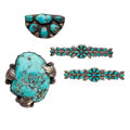 Estate Jewelry:Brooches - Pins, Turquoise, Silver Brooches. ... (Total: 4 Items)