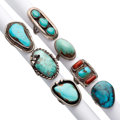 Estate Jewelry:Rings, Southwestern Turquoise, Coral, Silver Rings. ... (Total: 7 Items)