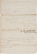 "Autographs:U.S. Presidents, Andrew Jackson Document Signed Authorizing Payment to a ""Free Girl of Colour"" Employed in Hospital. ..."