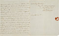 Autographs:Statesmen, Robert R. Livingston Autograph Letter Signed Advising RensselaerCo-founder Amos Eaton on Electromagnetism....