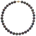 Estate Jewelry:Necklaces, Dyed Black Cultured Pearl, Gold Necklace. ...
