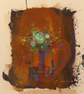 Paintings, Francois D'Izarny (French, b. 1952). Bouquet of flowers. Mixed media on paper. 16-1/2 x 14-3/4 inches (41.9 x 37.5 cm) (...