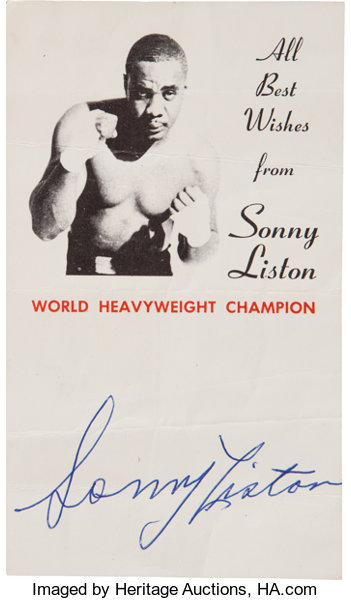 7faed874a99 1960's Sonny Liston Signed Autograph Card.... Boxing Collectibles ...