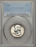 Washington Quarters, 1953 25C MS66+ PCGS. PCGS Population: (407/78 and 26/3+). NGC Census: (408/92 and 3/1+). Mintage 18,500,000. ...