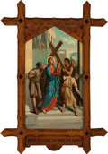 Mainstream Illustration, Continental School (20th Century). Jesus is Made to Bear HisCross (Station of the Cross II). Oil on canvas. 62 x 36 in....