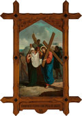 Mainstream Illustration, Continental School (20th Century). Veronica Wipes the Face ofJesus (Station of the Cross VI). Oil on canvas. 62 x 36 in...
